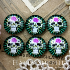 10pcs 12mm skull Handmade Photo Glass Cabochon GC12-625