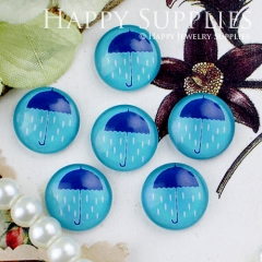 10pcs 12mm Rain Umbrella Handmade Photo Glass Cabochon GC12-447