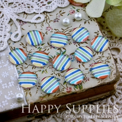 10pcs 12mm Colored stripes Handmade Photo Glass Cabochon GC12-127