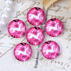 10pcs 12mm Pink Deer Handmade Photo Glass Cabochon Glass Bead GC12-1282