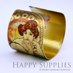 1pcs Woman Flower Handmade Photo Brass Cuff Bracelet PBC055