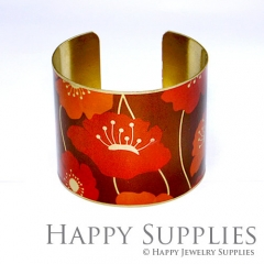 1pcs Flower Handmade Photo Brass Cuff Bracelet PBC003