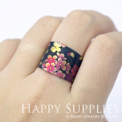 1pcs Flower Handmade Photo Brass Ring PR078