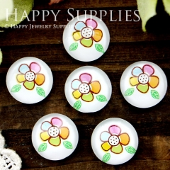 10pcs 12mm Flower Handmade Photo Glass Cabochon GC12-348