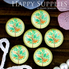10pcs 12mm Tree Leaf Leaves Handmade Photo Glass Cabochon GC12-324