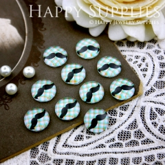 10pcs 12mm Moustache Handmade Photo Glass Cabochon GC12-181