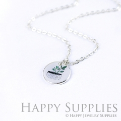 6pcs Leaf 925 Silver Plated Brass Charm Earring Necklace SY046