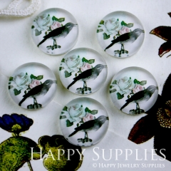 10pcs 12mm Bird Flower Handmade Photo Glass Cabochon GC12-096