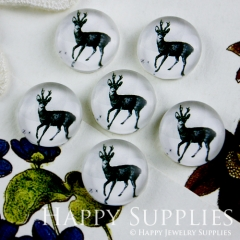 10pcs 12mm Deer White Handmade Photo Glass Cabochon GC12-090