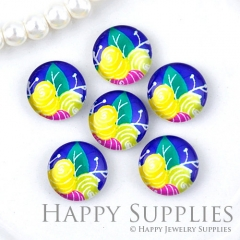 10pcs 12mm Flower Handmade Photo Glass Cabochon Glass Bead GC12-1291