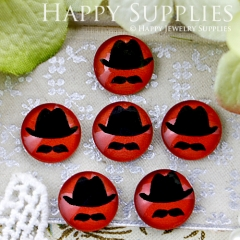10pcs 12mm Hat beard Handmade Photo Glass Cabochon GC12-330