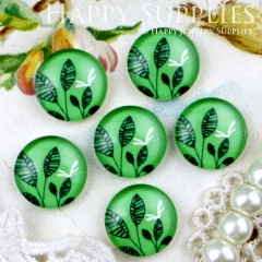 10pcs 12mm Green Leaves Leaf Dragonfly Handmade Photo Glass Cabochon GC12-319