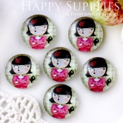 10pcs 12mm Girl Handmade Photo Glass Cabochon GC12-621