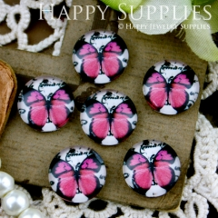 10pcs 12mm Butterfly Handmade Photo Glass Cabochon GC12-227