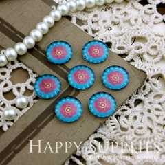 10pcs 12mm Flower Handmade Photo Glass Cabochon GC12-154