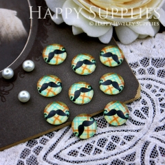 10pcs 12mm Moustache Handmade Photo Glass Cabochon GC12-182