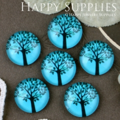 10pcs 12mm Tree Blue Handmade Photo Glass Cabochon GC12-291