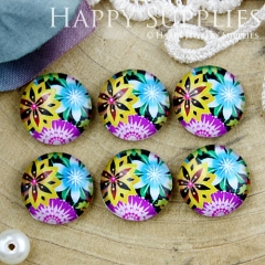 10pcs 12mm Flower Handmade Photo Glass Cabochon GC12-820