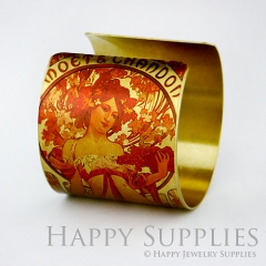 1pcs Woman Handmade Photo Brass Cuff Bracelet PBC028