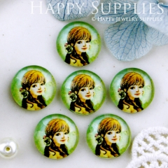 10pcs 12mm Girl Handmade Photo Glass Cabochon GC12-545