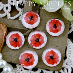 10pcs 12mm Flower Red Handmade Photo Glass Cabochon GC12-232