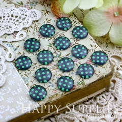 10pcs 12mm Dot Green Blue Handmade Photo Glass Cabochon GC12-178