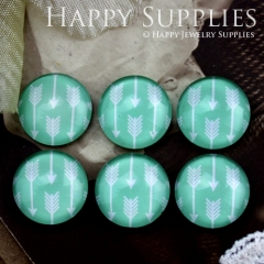 10pcs 12mm Arrow Green Handmade Photo Glass Cabochon GC12-858