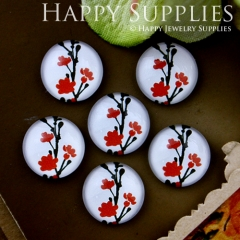 10pcs 12mm Flower Tree Handmade Photo Glass Cabochon GC12-515