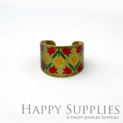1pcs Flower Handmade Photo Brass Ring PR099