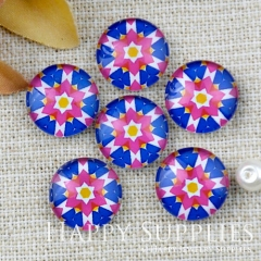 10pcs 12mm Flower Geometric Handmade Photo Glass Cabochon GC12-1153
