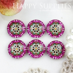 10pcs 12mm Geometric, Colorful Handmade Photo Glass Cabochon GC12-758