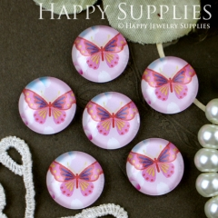 10pcs 12mm Butterfly Handmade Photo Glass Cabochon GC12-301