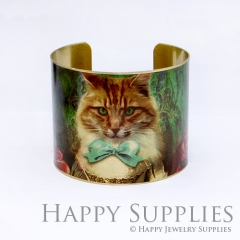 1pcs Cat Handmade Photo Brass Cuff Bracelet PBC001