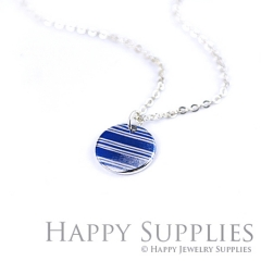6pcs Blue Pattern 925 Silver Plated Brass Charm Earring Necklace SY032