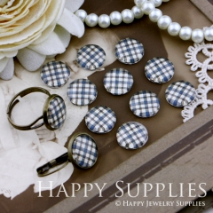 10pcs 12mm Dark Blue plaid Handmade Photo Glass Cabochon GC12-148