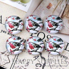 10pcs 12mm Tree and Bird Handmade Photo Glass Cabochon GC12-1226