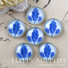 10pcs 12mm Blue Leaves Handmade Photo Glass Cabochon GC12-1198