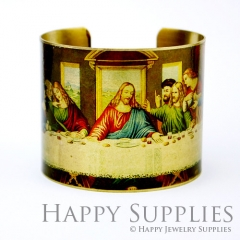 1pcs The last supper Handmade Photo Brass Cuff Bracelet PBC051