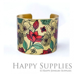 1pcs Flower Handmade Photo Brass Cuff Bracelet PBC101