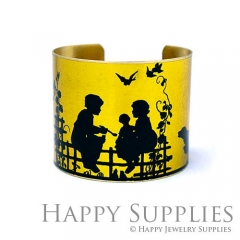 1pcs Family Handmade Photo Brass Cuff Bracelet PBC200