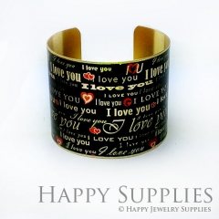 1pcs I Love You Handmade Photo Brass Cuff Bracelet PBC089