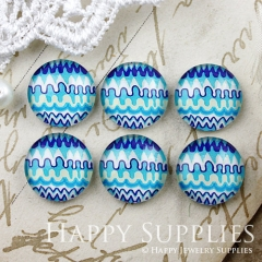 10pcs 12mm Blue Geometric Handmade Photo Glass Cabochon GC12-888