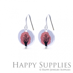 6pcs Red Tree 925 Silver Plated Brass Charm Earring Necklace SY088