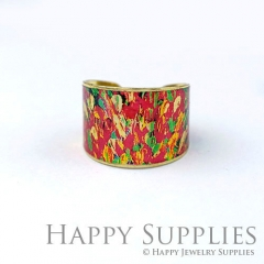 1pcs Colorful Handmade Photo Brass Ring PR121