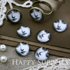 10pcs 12mm Girl Face Handmade Photo Glass Cabochon GC12-114