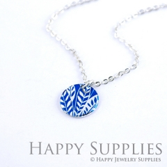 6pcs Blue Leaf 925 Silver Plated Brass Charm Earring Necklace SY047