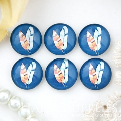 10pcs 12mm Feather Handmade Photo Glass Cabochon GC12-1032