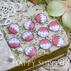 10pcs 12mm Color plaid Handmade Photo Glass Cabochon GC12-118