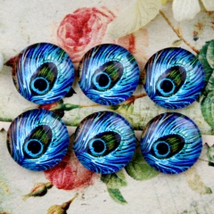 10pcs 12mm Peacock feathers Handmade Photo Glass Cabochon GC12-734
