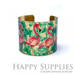 1pcs Red-crowned crane Handmade Photo Brass Cuff Bracelet PBC124